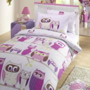Hoot Duvet Cover Set - Kids Duvet and Pillow - Hoot Printed Pink Curtains