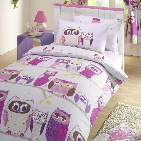 Hoot Duvet Cover Set - Kids Duvet and Pillow - Hoot Printed Pink Curtains