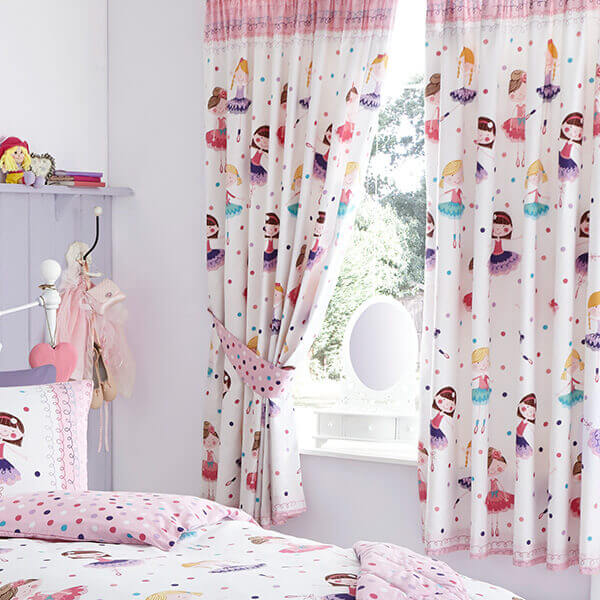 Ballerina Curtains - Baby Girls Bedding Set