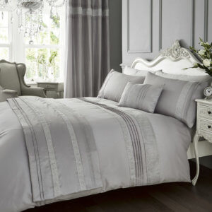 Silver Kimberley Design Duvet Covers with Matching Quilted Runner