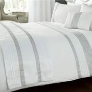White Kimberley Design Filled Cushions and Duvet Cover - Matching Quilted Runner