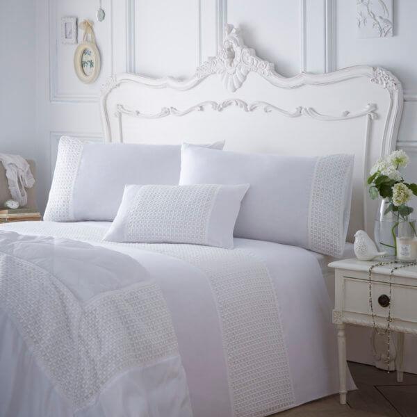 Full View - Neve Design White Colour Luxury Bedding