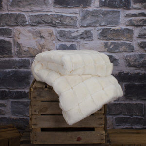 Snow Colour Caspian Faux Fur Throw