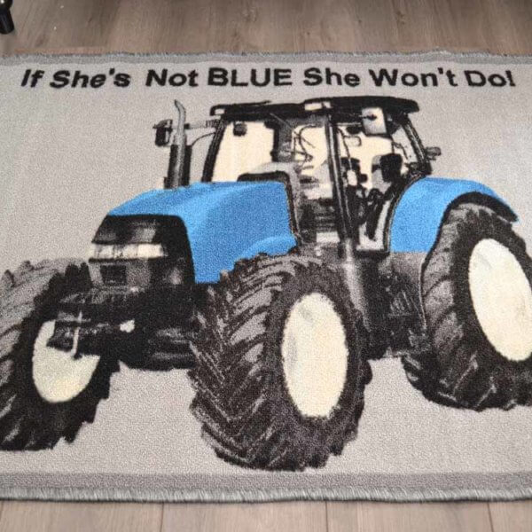 Blue Tractor Rug