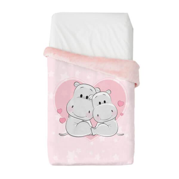 B.VIP 526 C04 Baby Hippos Pink 110cm x 140cm