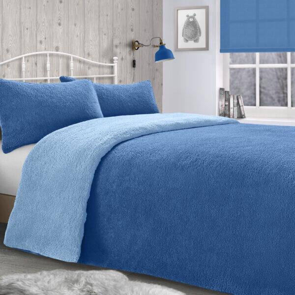 Teddy Duvet Set - french blue & light blue