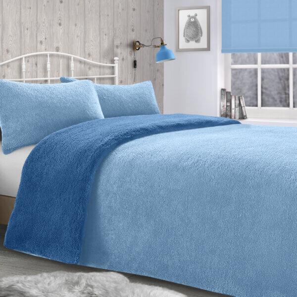 Teddy Duvet Set - french blue & light blue v2